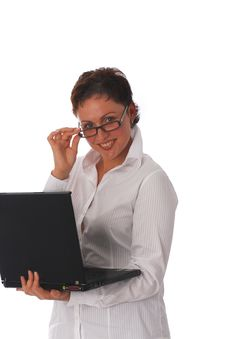 Free Businesswoman With Laptop Royalty Free Stock Image - 3231716