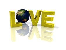 Reflective Love 3D Planet Globe Earth Royalty Free Stock Image
