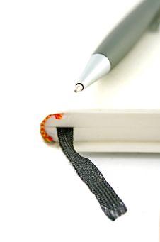 Free White Diary With  Ballpoint Stock Photo - 3231980