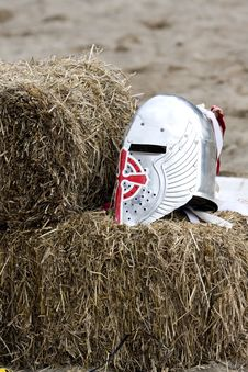 Silver Knight S Helmet Royalty Free Stock Images