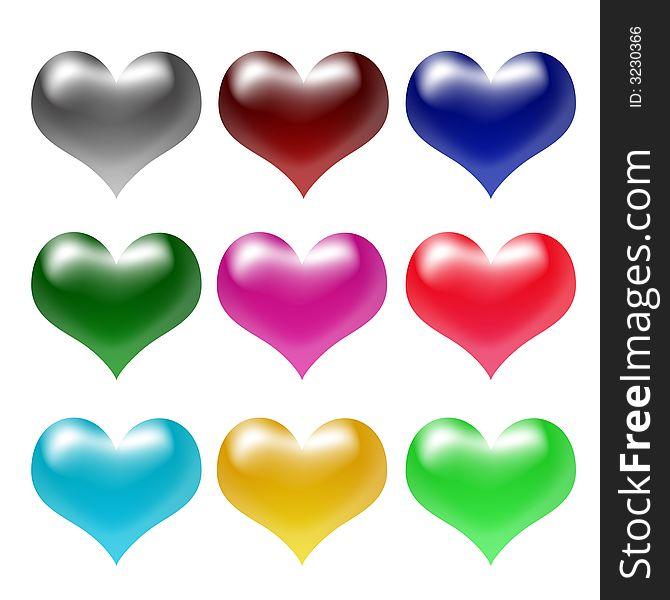 3d colour hearts