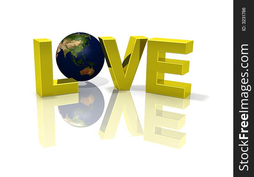 Reflective love 3D planet globe Earth