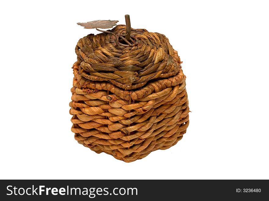 Wicker box isolated