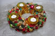 Christmas Wreath With Four Candles. Royalty Free Stock Photo