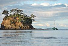 Yacht Next To Island Stock Photos