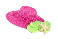 Free Pink Straw Hat And Lime Green Flip Flops Isolated On White 2 Royalty Free Stock Photo - 32325745