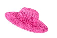 Free Pink Straw Hat Isolated On White 2 Royalty Free Stock Photography - 32325747