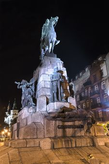 Free Grunwald Monument At Night Stock Photography - 32327192