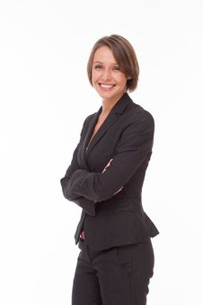 Free Business Woman In Suit On White Royalty Free Stock Photo - 32332065
