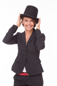Free Business Woman In Suit Play With Bowler Stock Photography - 32332172