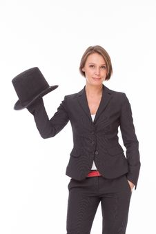 Free Business Woman In Suit Play With Bowler Stock Photography - 32332232