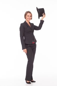 Free Business Woman In Suit Play With Bowler Royalty Free Stock Photos - 32332268
