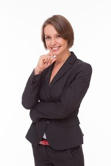 Free Business Woman Smiling On White Stock Photos - 32332383