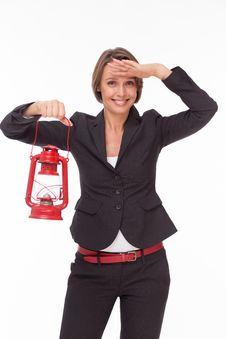 Free Businesswoman  With Red Kerosene Lamp Stock Photos - 32332543