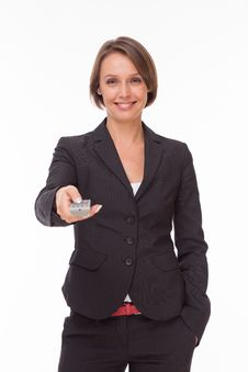 Free Businesswoman With Remote Control On White Royalty Free Stock Images - 32332649