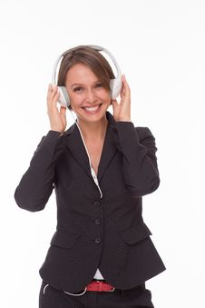 Free Businesswoman With Earphones On White Stock Image - 32332681