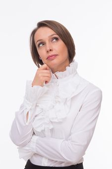 Free Businesswoman Think On White Royalty Free Stock Photography - 32332957