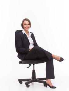 Free Businesswoman Sit On Chair Stock Image - 32333101