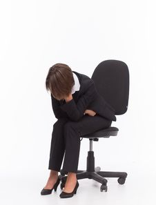 Free Sad Businesswoman Sit On Chair Stock Photos - 32333133