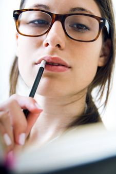 Free Woman Taking Notes At Home Royalty Free Stock Photos - 32336238