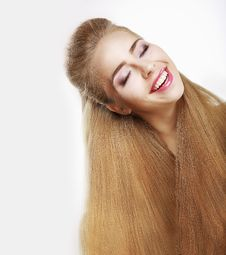 Free Sincere Smile. Jubilant Young Woman With Flowing Healthy Hairs. Pleasure Royalty Free Stock Image - 32345036
