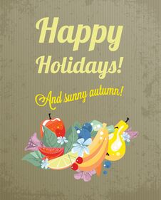 Free Vintage Greeting For An Autumn Holidays Stock Photography - 32345592