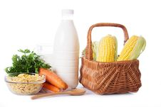 Milk, Cereals And Some Vegetables Isolated