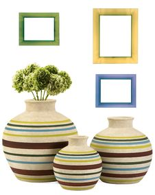Colorful Frames And Vases Stock Photography