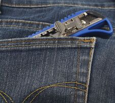 Free Small Knife Or Cutter In Jean S Pocket Stock Image - 32352261