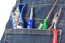 Free Knife,screw, Cutter And Pincers In Jean S Pocket Royalty Free Stock Images - 32352439