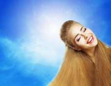 Free Positive Emotions. Portrait Of Laughing Teen Girl Over Sunny Blue Sky. Jubilance Stock Photo - 32355760
