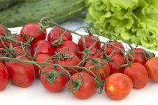 Cherry Tomatoes Cucumber Salad On The Tablecloth Stock Photography