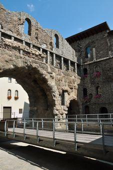 Free Aosta, Italy. Porta Pretoria, Roman Ruins Royalty Free Stock Photography - 32379887