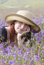 Free Girl Dreaming In Violet Flowers Royalty Free Stock Photography - 32398917