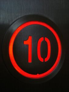 Free Elevator Lit Button Royalty Free Stock Image - 32390136