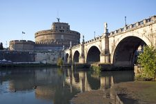 Castel Sant. Angelo From Left Side Of The Tiber, Rome, Italy Royalty Free Stock Photo