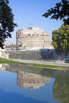 Reflection Of Castel Sant Angelo From Left Side Of River Tiber, Royalty Free Stock Photo