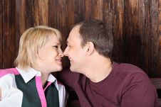 Free Happy Wife And Husband Touch Each Other Noses Royalty Free Stock Photography - 32396287