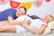 Free Happy Pregnant Wife And Husband Lie On Carpet Stock Image - 32396411