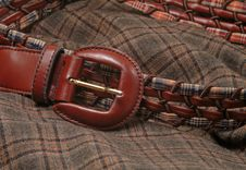 Leather Belt Over A Fabric Stock Images