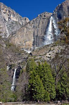 Waterfall With Ice At Yosemite Royalty Free Stock Photo