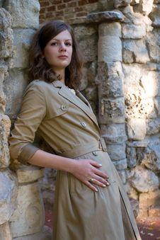 Free Girl Near Stone Wall Stock Image - 3242201