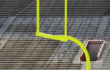 Free Goal Posts And Empty Stands Stock Image - 3242261