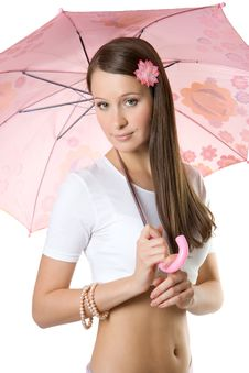 Free Young Girl With Umbrella Stock Photography - 3242782