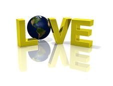 Free Reflective Love 3D Planet Globe Earth Royalty Free Stock Images - 3243079