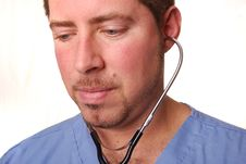 Free Doctor In Blue Scrubs Royalty Free Stock Images - 3243679