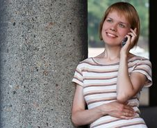 Girl Speak Cell Phone Stock Images