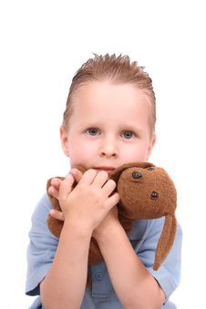 Boy And His Toy (dog) Stock Photo