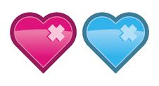 Free Two Vector Hearts Royalty Free Stock Photos - 3246998