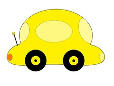 Free Yellow Cartoon Car Royalty Free Stock Image - 3247986